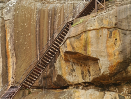 A staircase at the Lions rock  Sigiriya  in Sri Lanka Stock Photo - 17972833