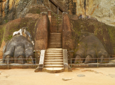 lions rock: A staircase at the Lions rock  Sigiriya  in Sri Lanka Stock Photo