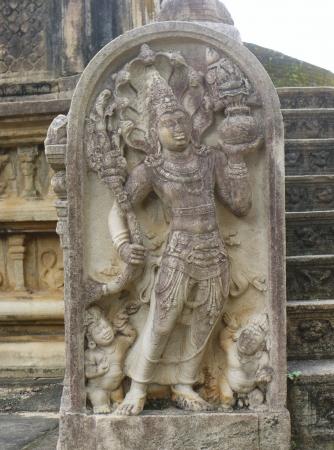 A guardstone of the historic Vatadage  a ruin of a stupa in Polonnaruwa in Sri Lanka Stock Photo - 18133311