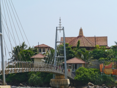 A temple complex on an isle in the  Indian ocean in front of Sri Lankacoast of Sri Lanka photo