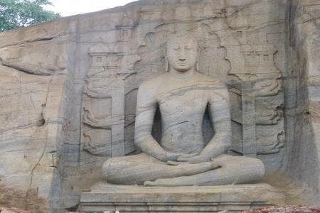 vihara: Sitting Buddha in Gal vihara in Polonnaruwa in Sri Lanka