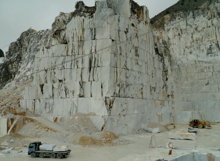 An open quarry of white marble in Carrara in Tuscany in Italy