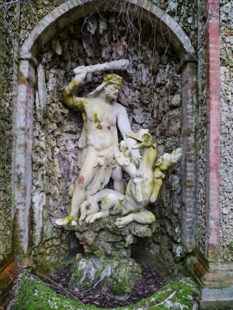 One of the sculptures in the garden of the villa Garzoni in Collodi in Italy