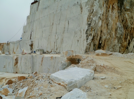 An open marble pit mine in Carrara in Italy Stock Photo