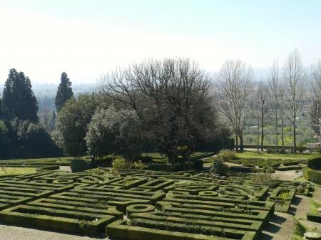 The garden of the villa la Petraia in Castello  in Italy in spring