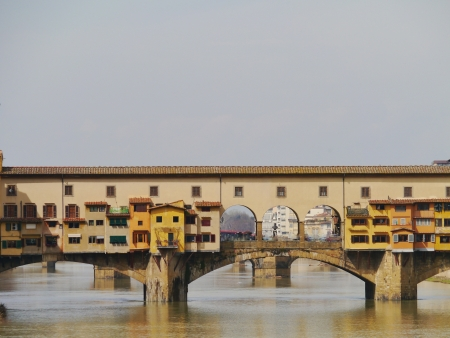 The ponte Vecchio in Florence in Italy a bridge over the river Arno photo