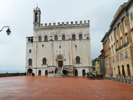 The palace of the consul in Gubbio in Umbria in Italy photo