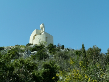 The church of our lady of Carmel on the Okit hill above Vodice  in Croatia photo