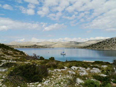 View of the bay of the uninhabited island Levrnaka in the Kornati national park in Croatia photo