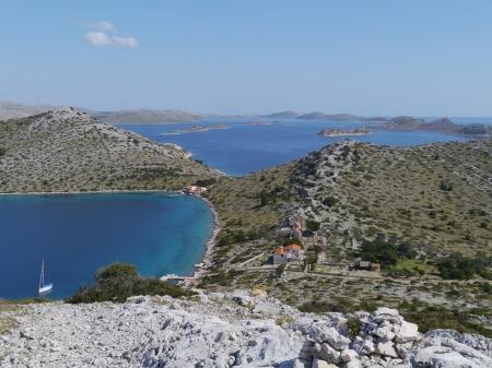 kornati national park: View of the bay of the uninhabited island Levrnaka in the Kornati national park in Croatia Stock Photo