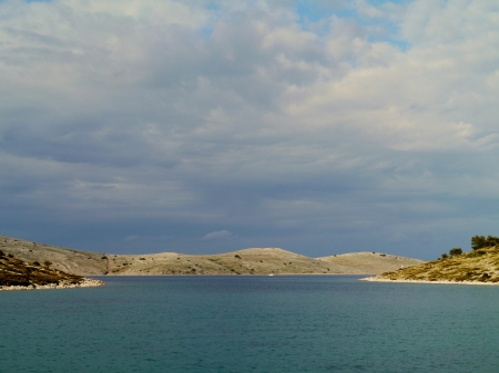kornat: Panoramic view of the island Kornat seen from the bay of the island Lavsa in Croatia