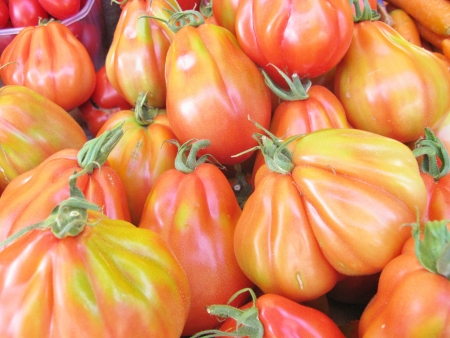 Tomatoes at the greengrocer on the market place