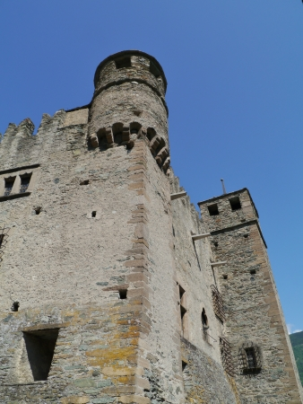 corbel: The medieval castle of Fenis the Aosta valley in  Italy