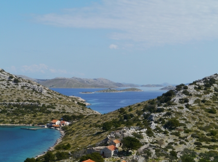 kornati national park: View of the bay of the island Levrnaka in the Kornati national park in the Adriatic sea of Croatia