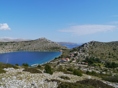 View of the bay of the island Levrnaka in the Kornati national park in the Adriatic sea of Croatia photo