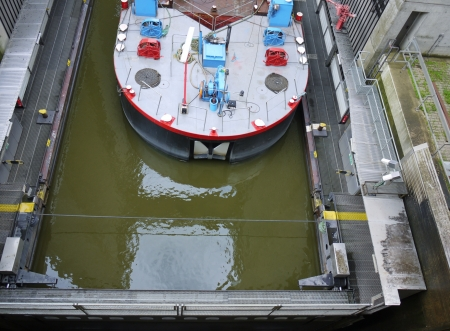 lift lock: The lift lock or boat lift at Scharnebeck in the Elbe-seitenkanaal in Germany Stock Photo