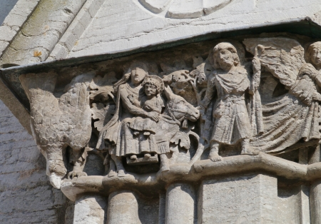 A detail of the saint Maria cathedral of Visby on the island Gotland in Sweden photo