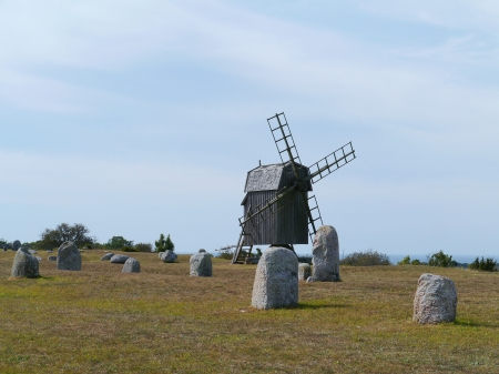 mounts: The burial ground of the village Gettlinge with  a historic wooden wind mill on the island Oeland in Sweden