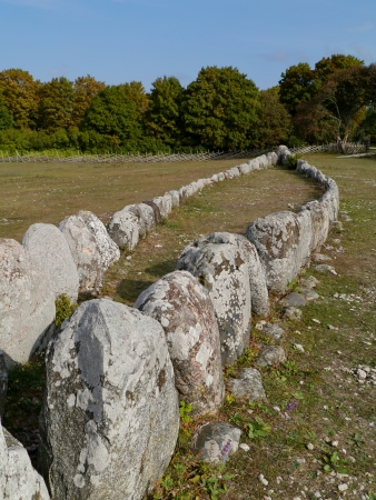 The Gannarve  megalithic ship grave on the island Gotland in Sweden photo