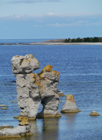 Raukars at the coast of the island Faro near Gotland in the Baltic sea of Sweden Stock Photo - 22941488