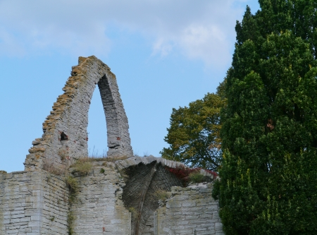 Ruin of the Drotten church in Visby on the island Gotland in Sweden photo
