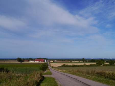 A road at the countryside of the Island Oeland in Sweden photo
