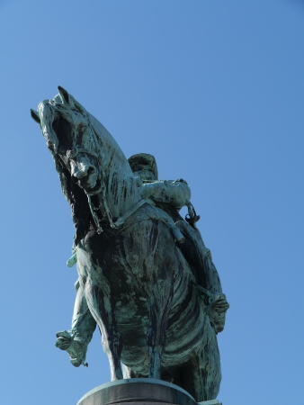 karl: A bronze statue of King Karl X Gustav on the Stortorget square in Malmo in Sweden