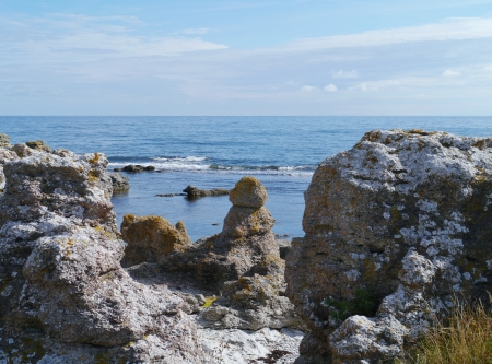 Raukars at the coast of the island Gotland in the Baltic sea of Sweden Stock Photo - 22998535