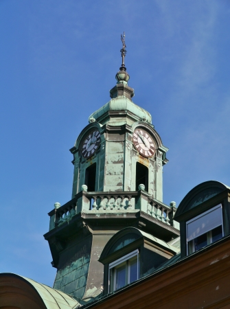 The tower with a clock on a historic building in Kalmar in Sweden Editöryel