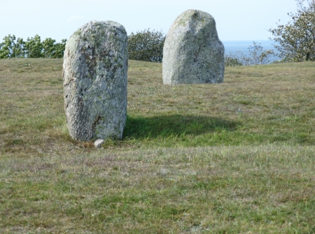 oland: The burial ground of the village Gettlinge with  standing stones on the island Oeland in Sweden Stock Photo