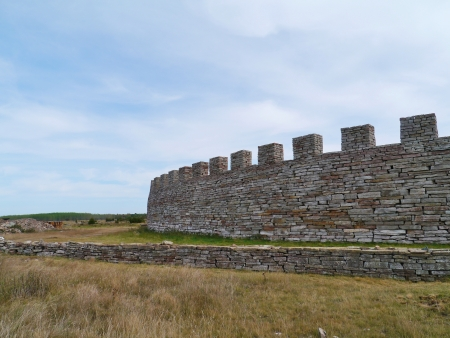 garrison: The Eketorp medieval castle on the Island Oeland in the Baltic sea of Sweden Stock Photo