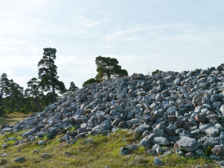 Boulders on a burial mound on the island Gotland in Sweden