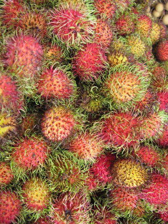 Rambutan fruits at the greengrocer on the fruit market photo