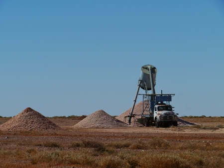 chrystals: Equipment of the opal mines in Coober Pedy of Australia Stock Photo