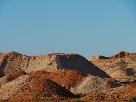 chrystals: Colourful opal mines in Coober pedy in Australia Stock Photo