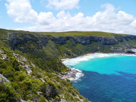remarkable: The sand beach bay near the remarkable rocks on Kangaroo island in Australia