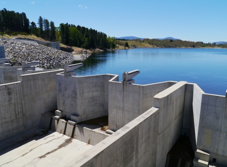 Jindabyne Dam is a dam across the Snowy River in the Snowy Mountains of New South Wales in Australia photo