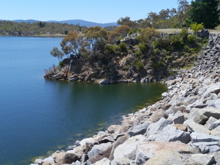 Jyndabyne lake in the Snowy River in the Snowy Mountains of New South Wales in Australia photo
