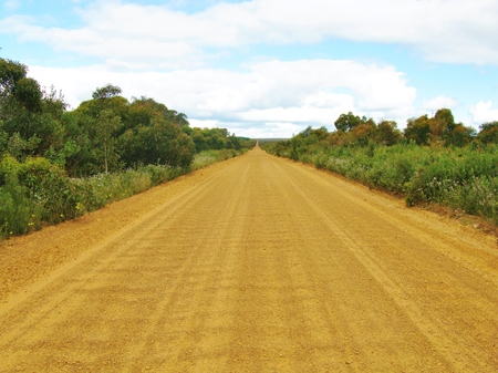 Unsealed road in perspective on Kangaroo island in Australia photo