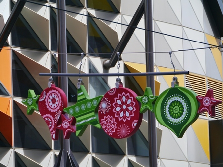 The Swanston building with a Christmas decoration in Melbourne in Australia