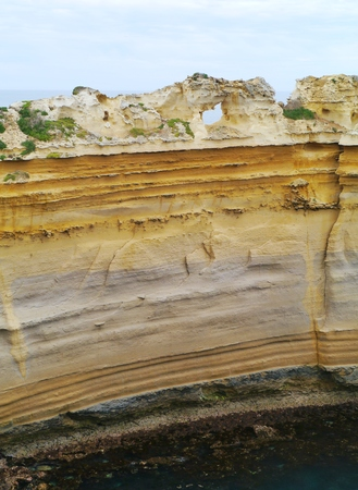 ard: The razorback of the Loch Ard Gorge is part of Port Campbell National Park Victoria in  Australia