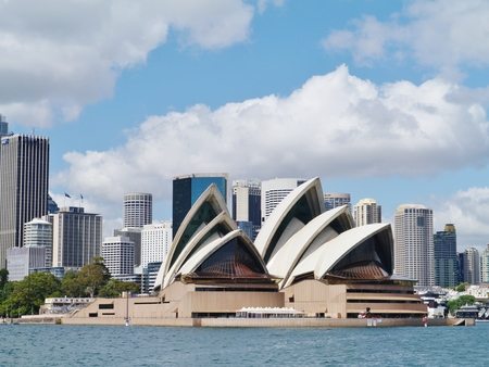 View of Sydney harbour with the Opera house and the central business centre in Australia