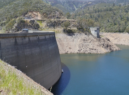 reaches: Tumut Pond Dam  in the Snowy Mountains of New South Wales in Australia