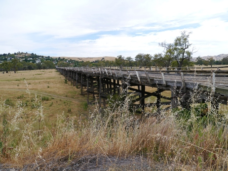 floodplain: The Prince Alfred Bridge is a part of the old Hume highway over the Murrumbidgee floodplain in Gundagai in Australia