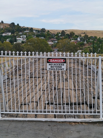 wonky: A safety fence on the ancient Prince Alfred Bridge over the Murrumbidgee floodplain in Gundagai in Australia