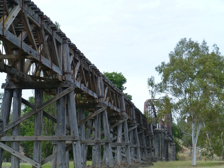 floodplain: The historic rail bridge over Murrumbidgee River and the floodplain in Gundagai in Australia