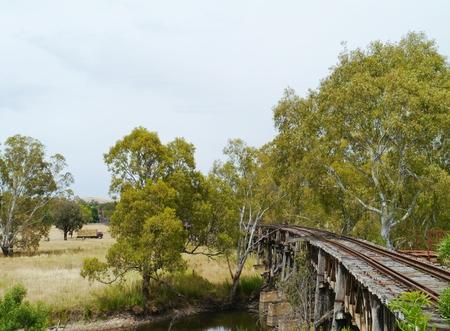 latticework: The historic rail bridge over Murrumbidgee River and the floodplain in Gundagai in Australia