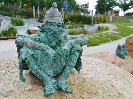kobold: fairytale dwarf statues in the city Geelong in Victoria in Australia Stock Photo