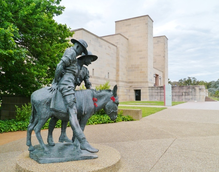 simpson: A statue of Simpson and his donkey field ambulance in Canberra in Australia
