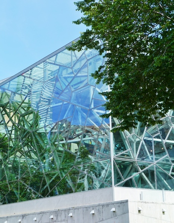 view of an atrium in a building: Modern architecture on Federation square in Melbourne in Australia